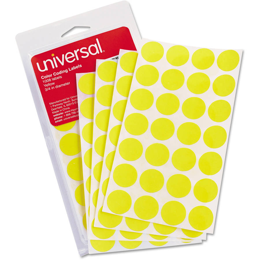 "Universal Permanent Self-Adhesive Color-Coding Labels, 3/4"" dia, Yellow, 1008 labels per pack, 3-Pack"