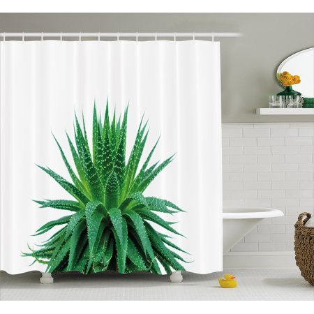 Plant Shower Curtain Medicinal Aloe Vera With Vibrant Colors Indigenous Species Alternative Natural Remedy Fabric Bathroom Set Hooks Fern Green