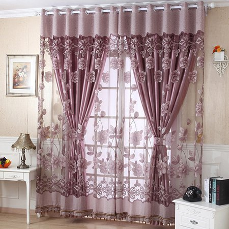 Semi Blackout Curtain Panels, Grommet Curtain Panels European Style Embroidered Flowers decoration Indoor Window Drapes with Eyelet For Family Livingroom Bedroom - Single Curtain Panel ()