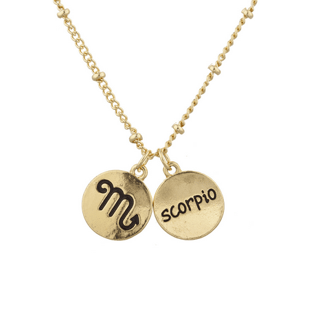 - Lux Accessories Gold Tone Scorpio and Astrological Sign Charm Necklace