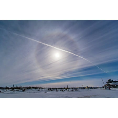 Around Crystal - An ice crystal lunar halo around the gibbous moon with an aircraft jet contrail Poster Print
