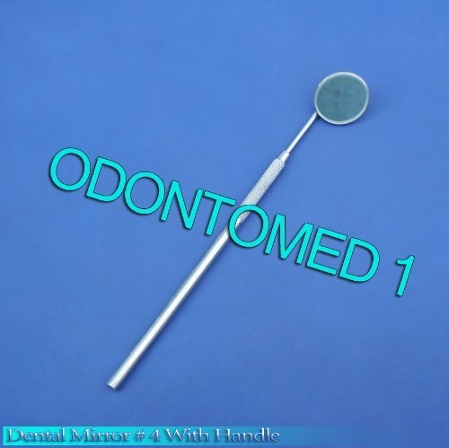 Dental Mirrors # 4 with Handle Stainless Steel Surgical Dental Instruments by ODONTOMED