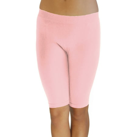 Vivian's Fashions Legging Shorts - Biker Length, Misses Size (Pink, - Team Pink Team Blue Buttons