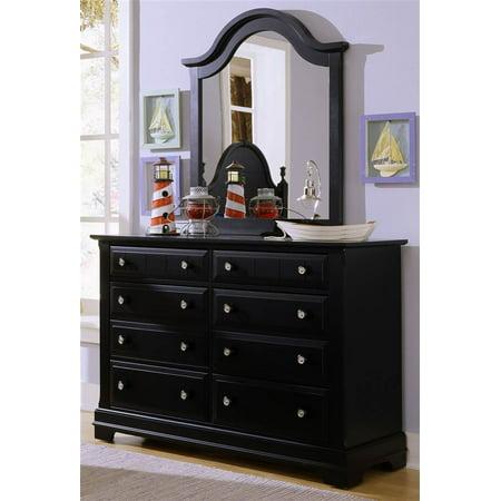double dresser vertical mirror set in black finish. Black Bedroom Furniture Sets. Home Design Ideas