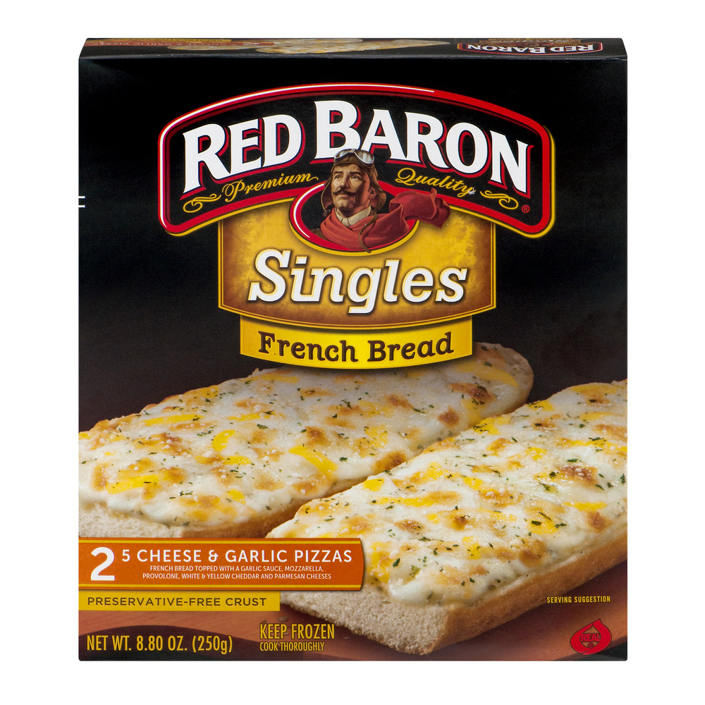 Red Baron Singles French Bread 5 Cheese & Garlic Pizzas - 2 CT