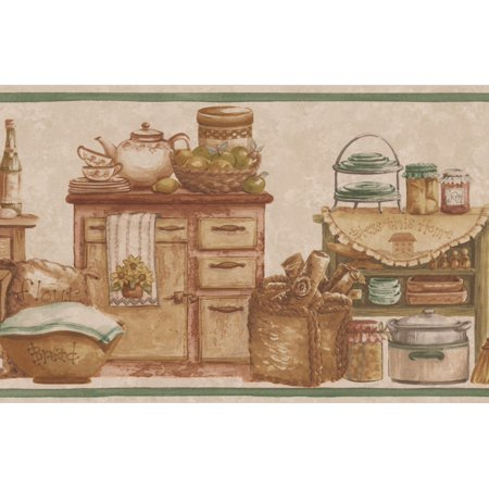 Kitchen Chests Food Jars Bread Fruits Beige Wallpaper Border Retro Design, Roll 15' x (Ford Retro)