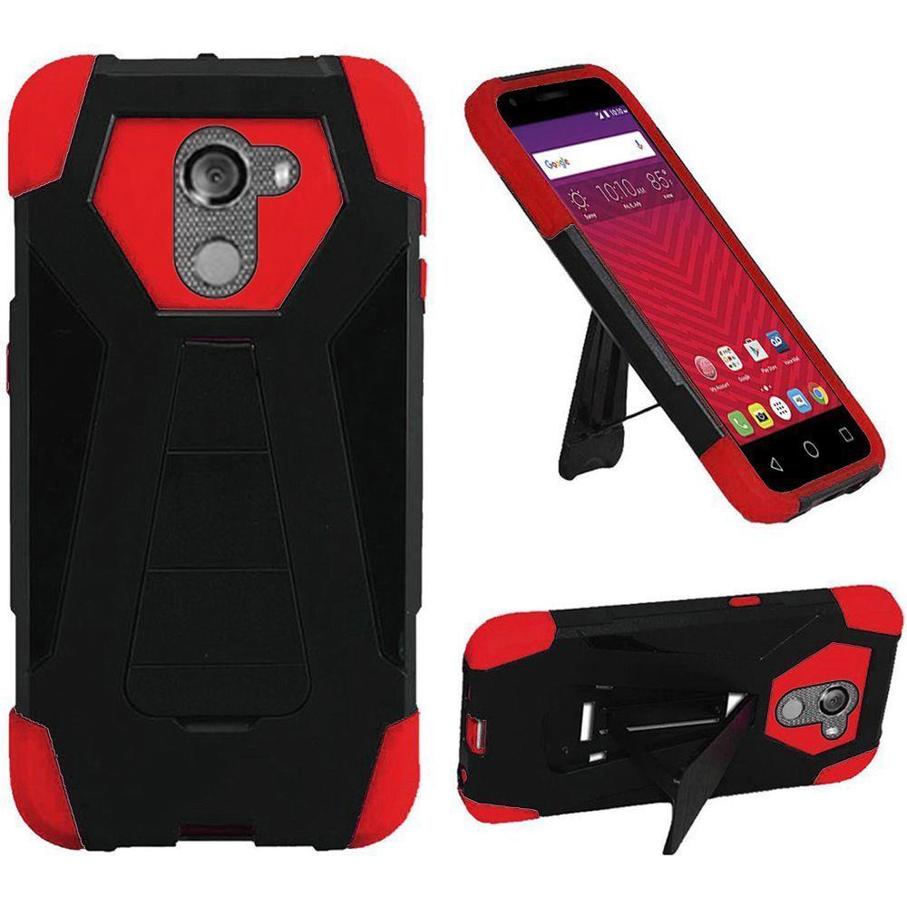 For T-Mobile REVVL / Alcatel A30 Fierce (MetroPCS) / Alcatel A30 Plus (Amazon) / Alcatel Walters Case Symbiosis Armor Hybrid Silicone Cover Hard Plastic with Kick Stand (Black/Red)