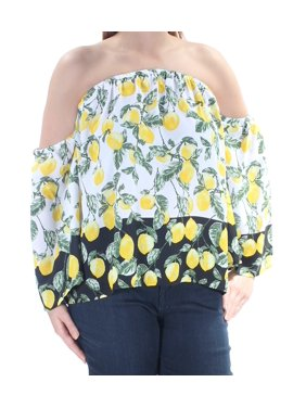 6b2bb41269ae7 Product Image INC Womens Yellow Lemons Bell Sleeve Off Shoulder Top Size  S