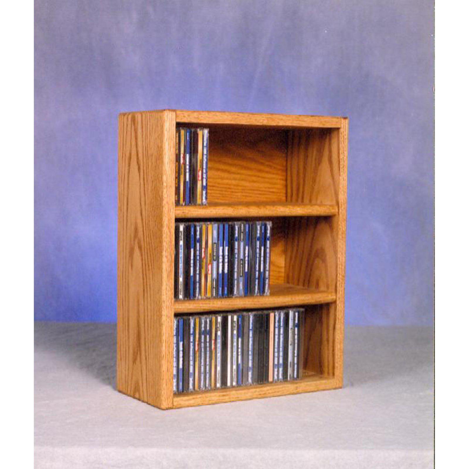 The Wood Shed Solid Oak Desktop / Shelf 78 CD Media Cabinet