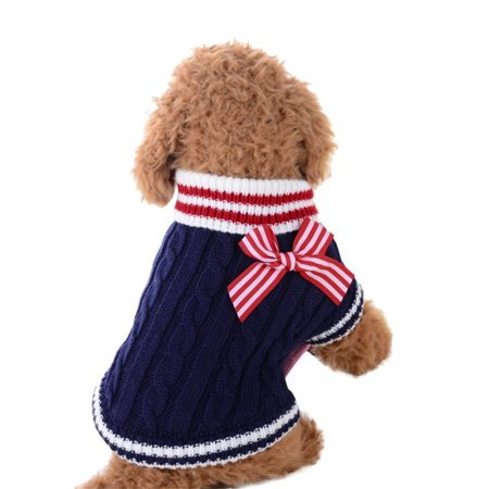 Cute Pet Dog Knitwear Sweater Puppy Cat Winter Warm Clothes Striped Coat Apparel