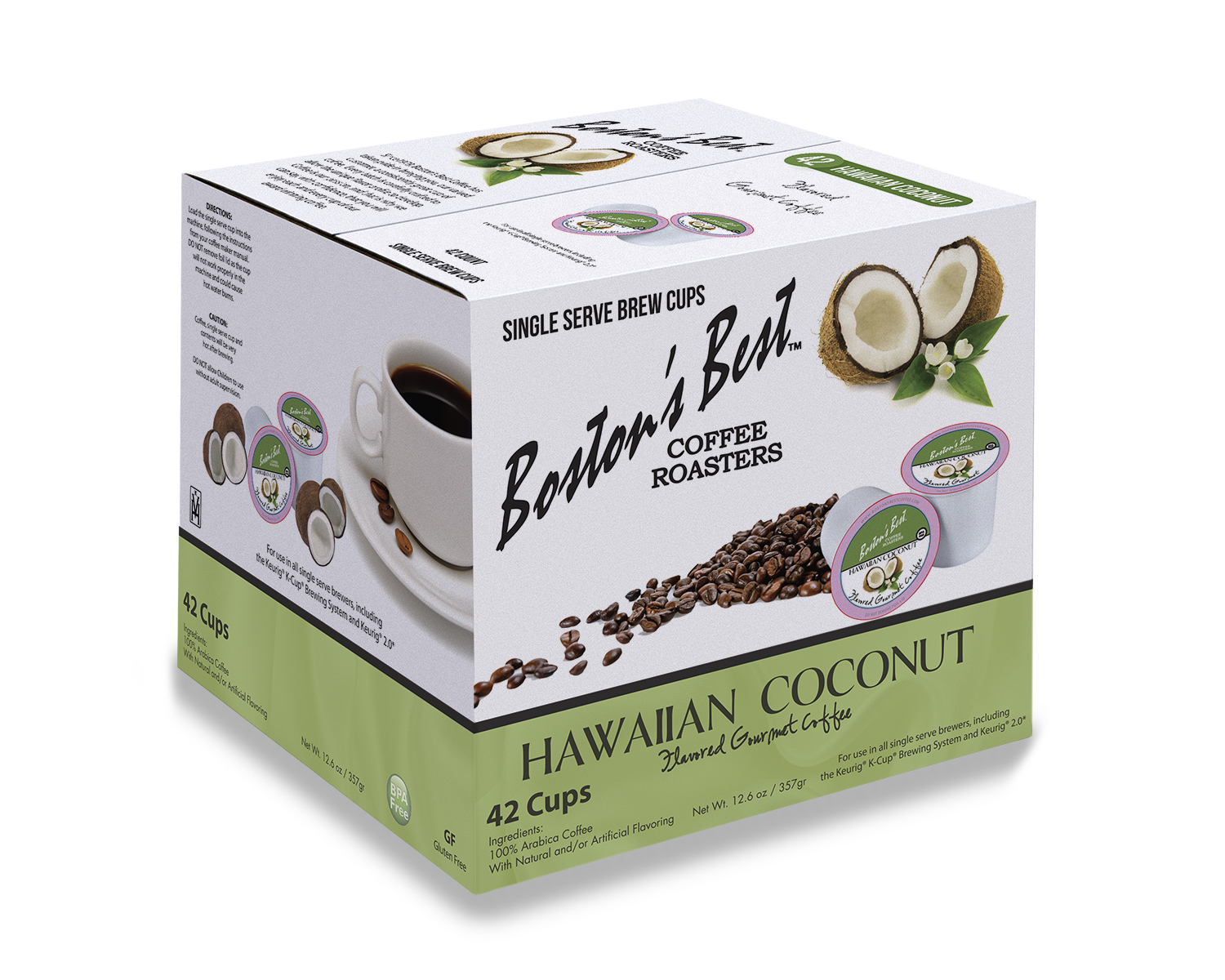 Boston's Best Hawaiian Coconut Flavored Coffee, Single Serve Cups, 42 ct