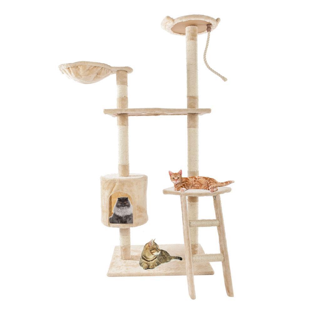 "Ktaxon 60"" Beige Cat Tree Tower Condo Scratcher Furniture Kitten Pet House Hammock by"