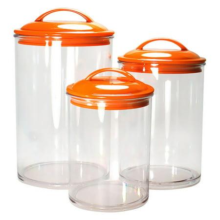 - Calypso Basics, Acrylic Canister Set of 3, Orange