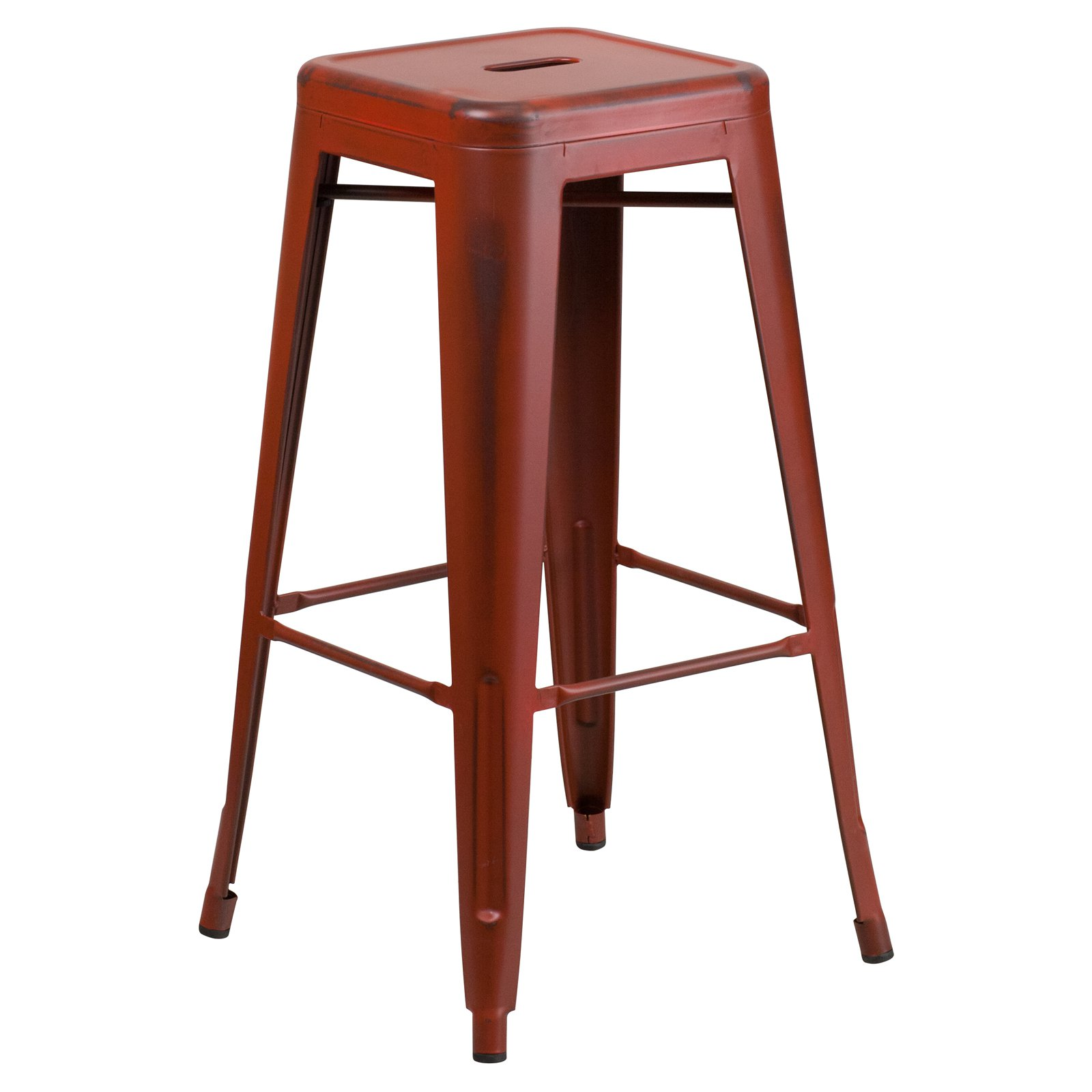 Flash Furniture 30'' High Backless Distressed Metal Indoor-Outdoor Barstool Multiple Colors