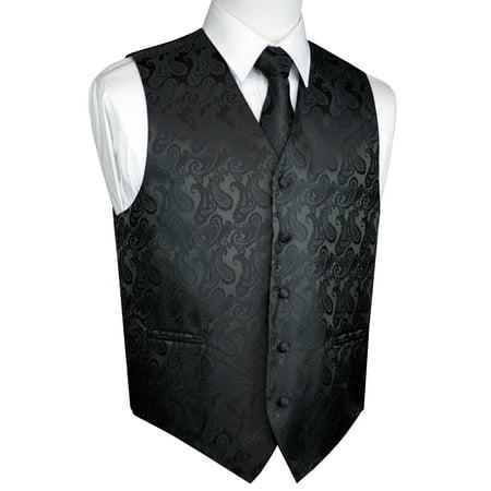 - Italian Design, Men's Tuxedo Vest, Tie & Hankie Set - Charcoal Paisley
