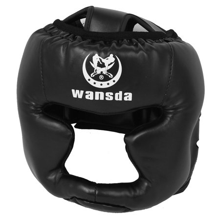 Head Guard - Unique Bargains Synthetic Leather Coated Boxing Head Guard Protector Helmet Headguard Black