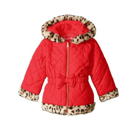 1b77b7e326714 Pistachio - Pistachio Toddler   Little Girls Red Puffer Jacket Leopard Faux  Fur Trim Coat - Walmart.com
