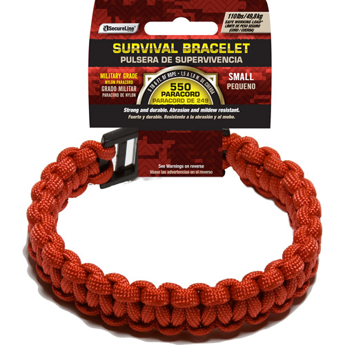 "SecureLine 550 lb Military Grade Paracord Survival Bracelet, Small, 7.5"", Red"