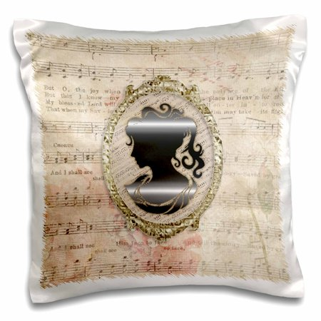 3dRose Beautiful Vintage Cameo, Gold Frame, Music Notes Background, Sepia - Pillow Case, 16 by 16-inch Gold Music Note