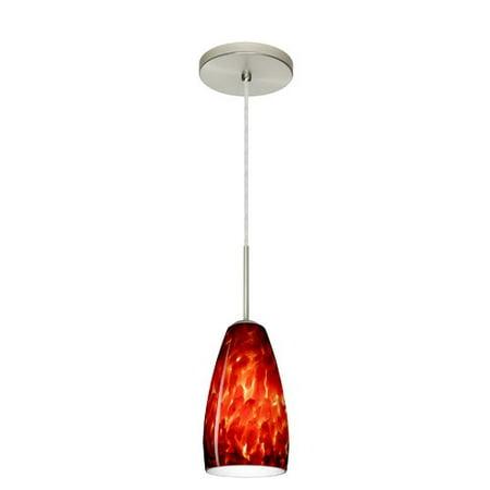 Besa Lighting 1BT-150941 Chrissy 1-Light Cord-Hung Mini Pendant with Garnet Glass Shade ()