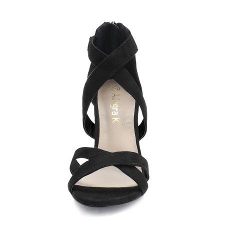 Women's Crisscross Strappy Open Toe Heeled Sandals Black US 8 - image 2 of 7
