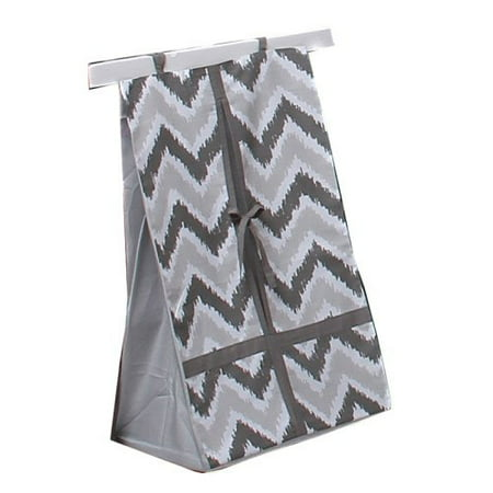 Bacati Ikat Diaper Stacker, Zigzag Grey