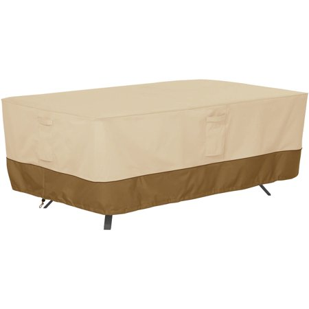 Classic Accessories Veranda Rectangular/Oval Patio Table Set Furniture Storage Cover, Pebble ()