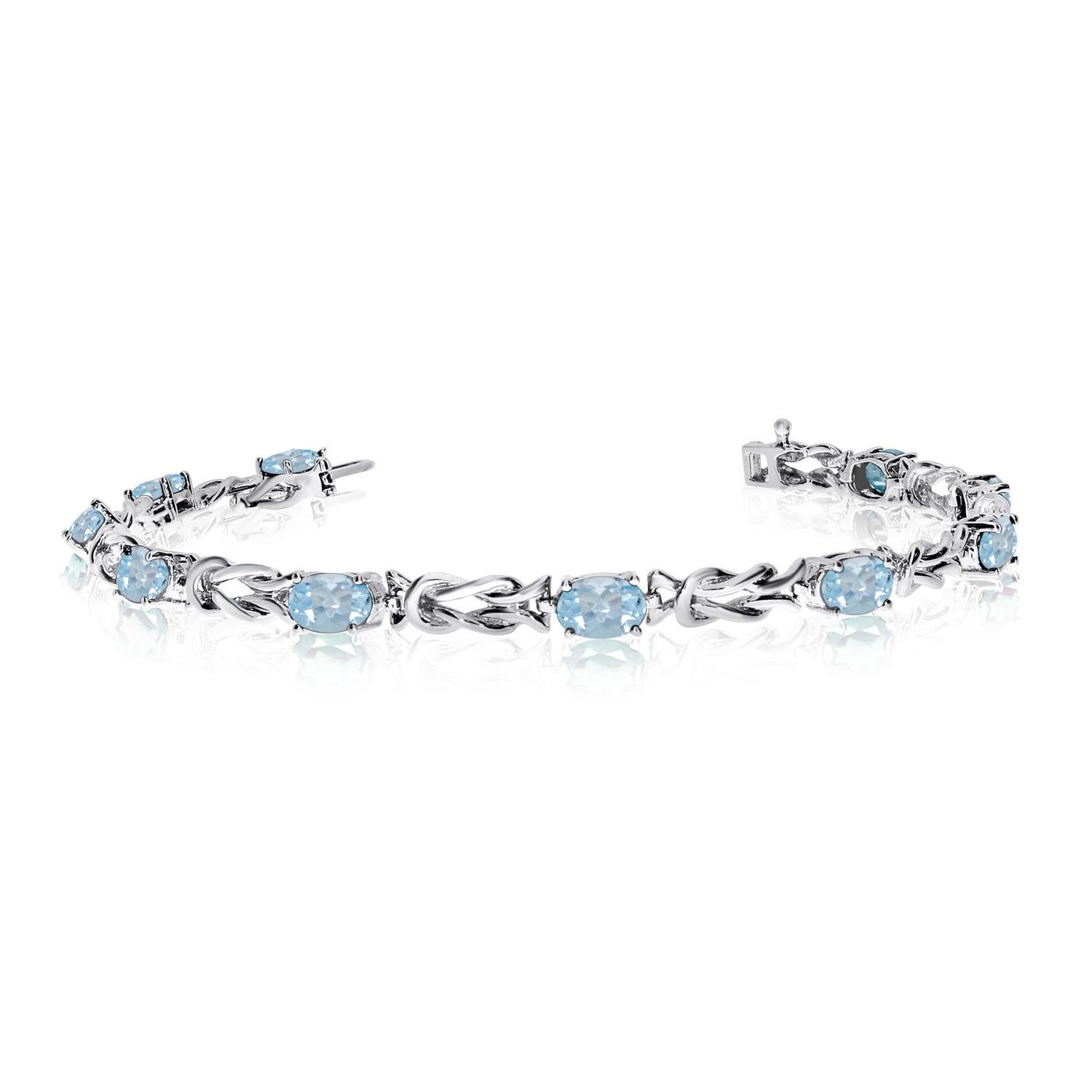 14K White Gold Oval Aquamarine Reef Knot Bracelet by