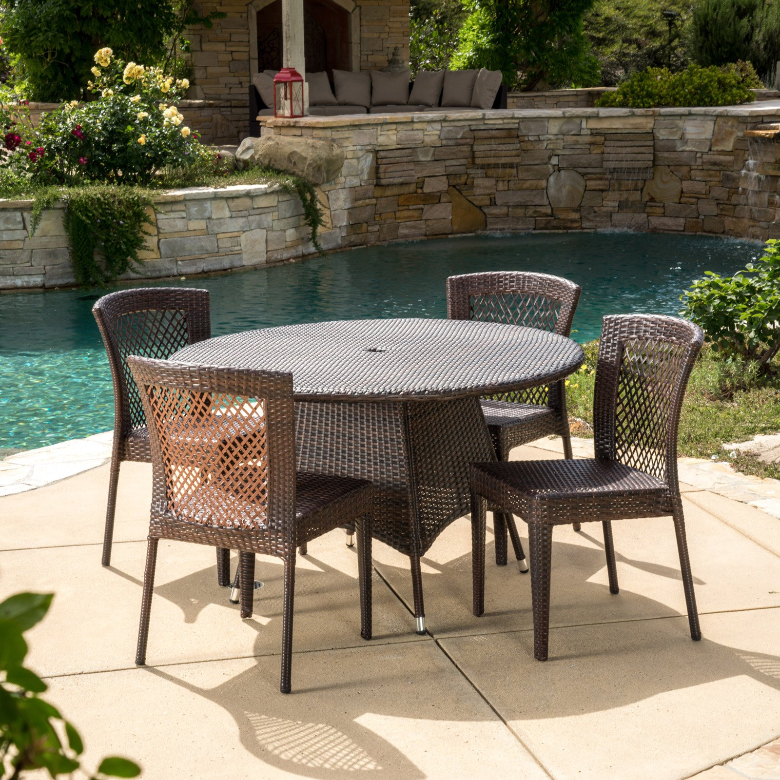 Celia Wicker 5 Piece Round Patio Dining Set - Brown