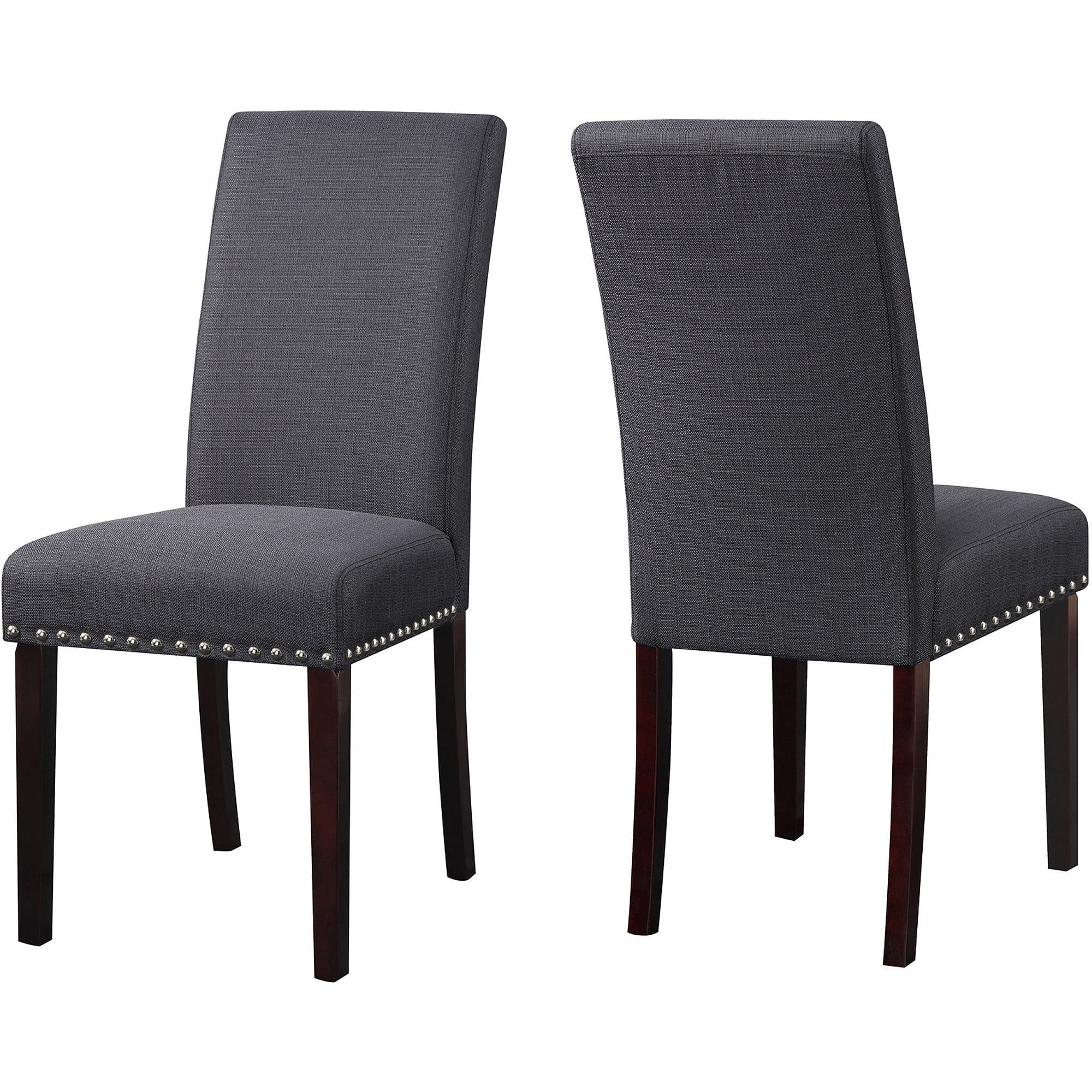 DHI Nice Nail Head Upholstered Dining Chair, 2 Pack, Multiple Colors ...