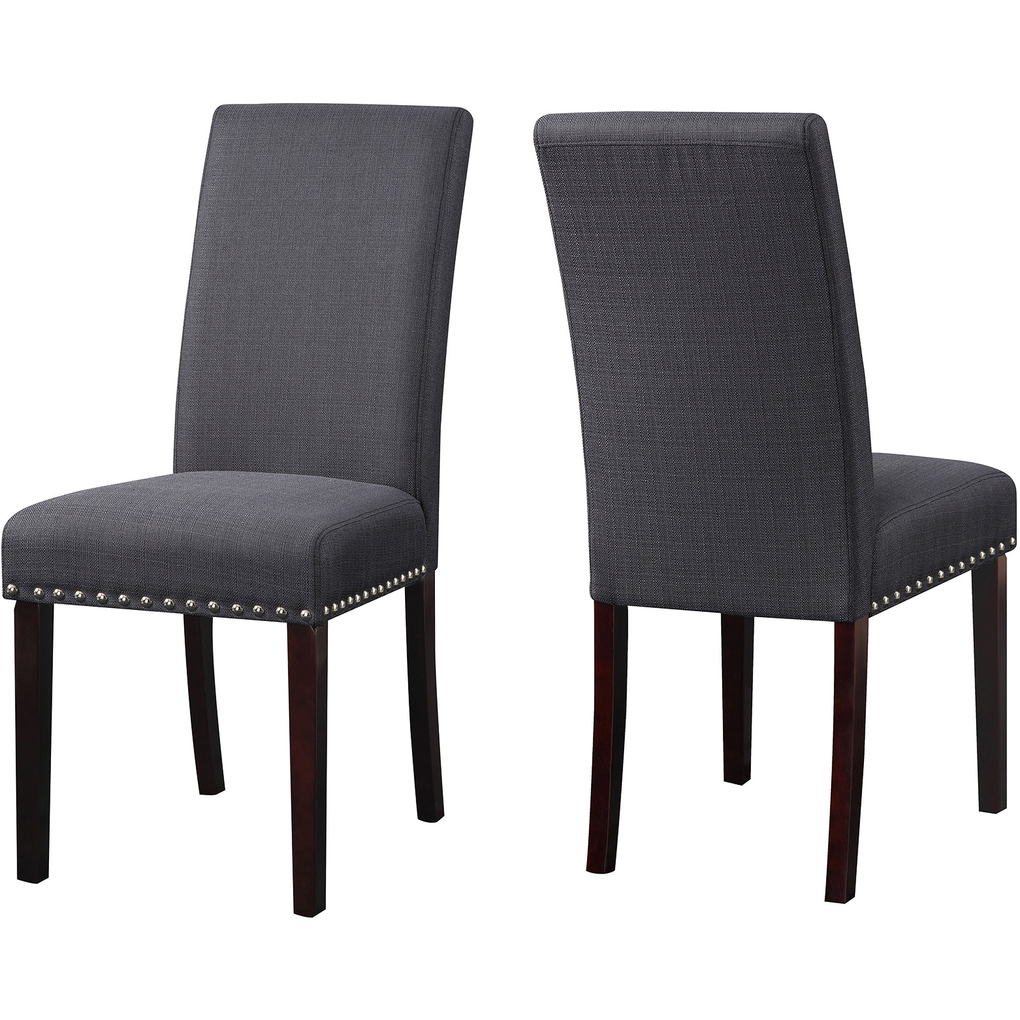 Black upholstered dining chairs - Dhi Nice Nail Head Upholstered Dining Chair Set Of 2 Multiple Colors Walmart Com