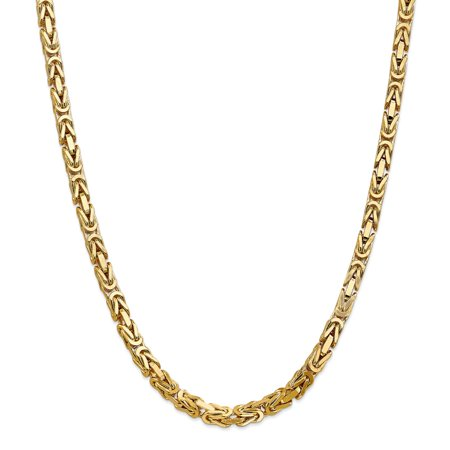 """Solid 14k Yellow Gold Big Heavy 5.25mm Byzantine Chain Necklace 20"""" - with Secure Lobster Lock Clasp"""
