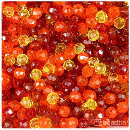 6 Mm Round Shape - BeadTin Orange & Gold Transparent 6mm Faceted Round Craft Beads (750pcs)