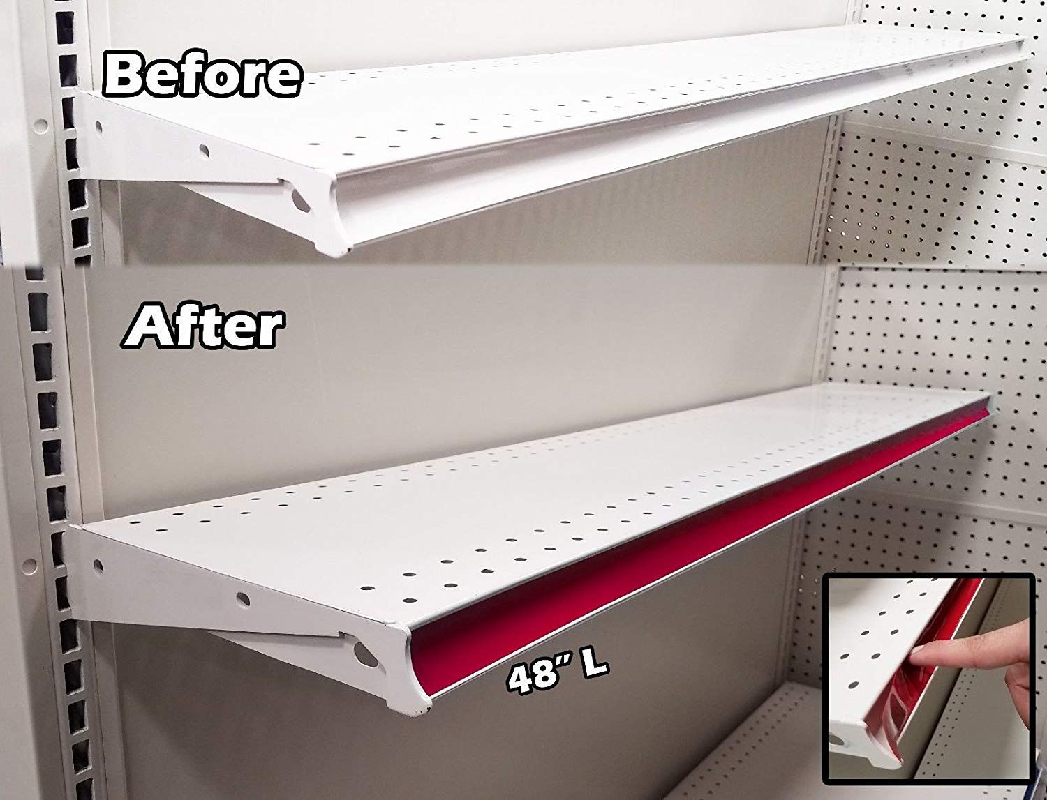 100 Pack Decorative Gondola Shelving Pre Cut Vinyl Insert Strips 48 X 1 25 Shelf C Channel Red
