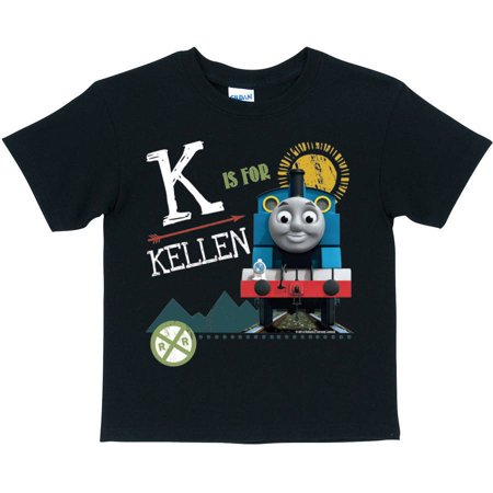 - Personalized Thomas and Friends Black Chalkboard Toddler Boy Initial Tee