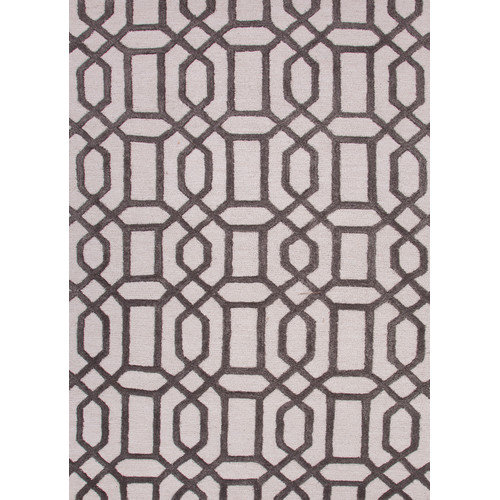 Contemporary Trellis, Chain And Tile Pattern Ivory/Gray Wool and Art Silk Area Rug (2x3)
