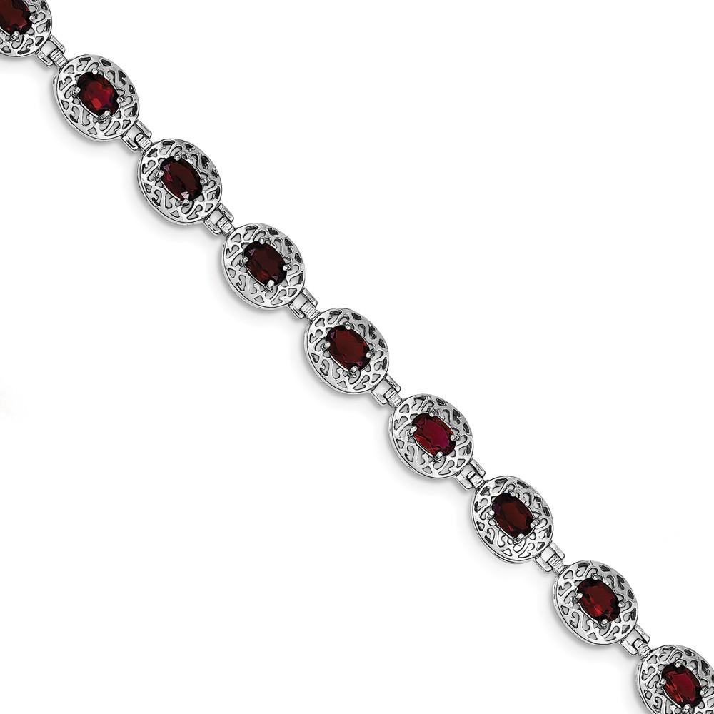 925 Sterling Silver Rhodium Plated Garnet Filigree Bracelet by Diamond2Deal