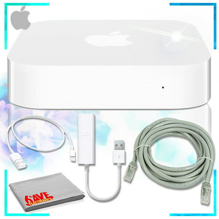 AirPort Express Base Station with USB Ethernet Adapter + Light to USB Cable + Cat5e Ethernet Cable (Apple Airport Express Best Price)