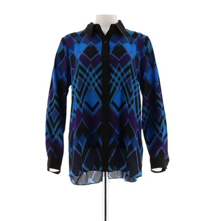 Bob Mackie Printed Hi-Low Hem Button Front Blouse A296423 Bob Mackie Embroidered Blouse