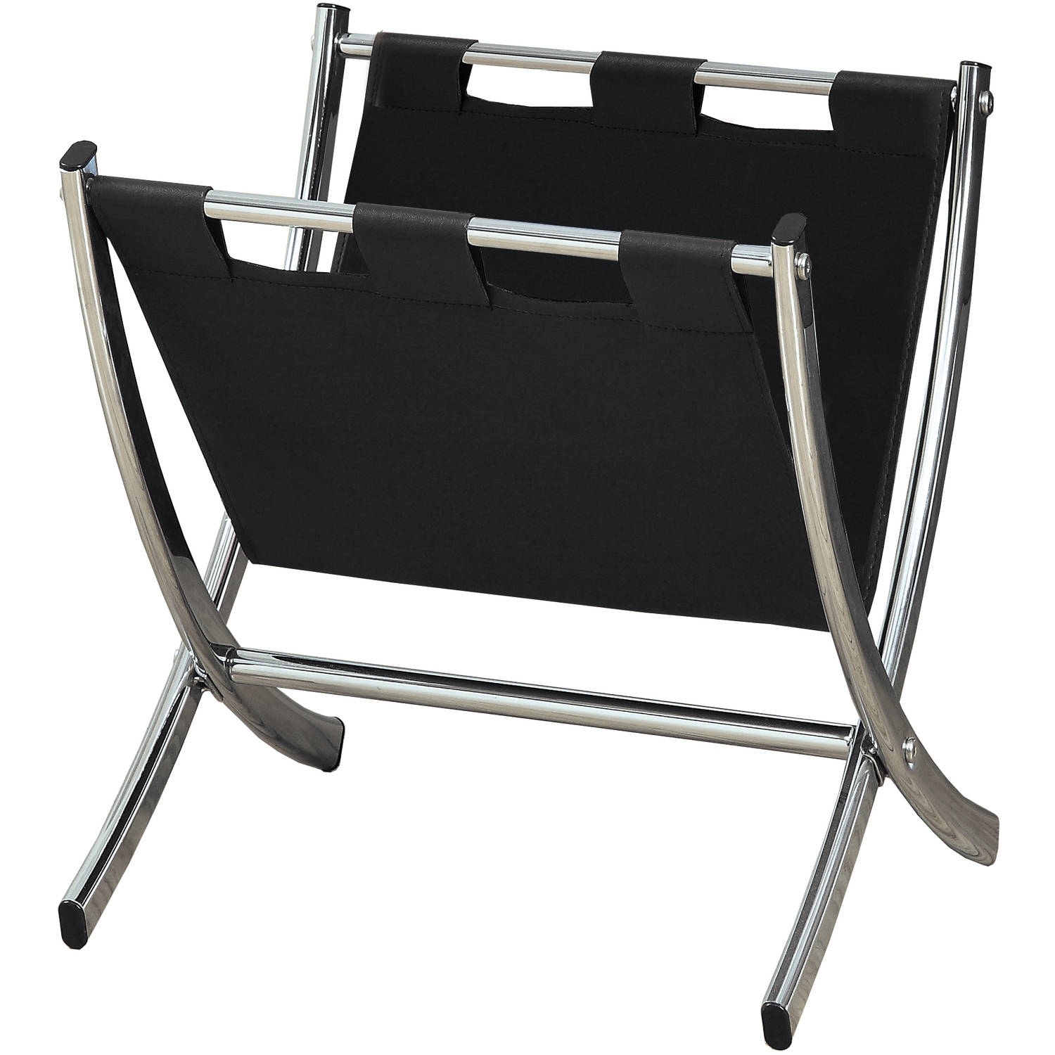 Black Leather-Look Chrome Metal Magazine Rack by Monarch Specialties Inc