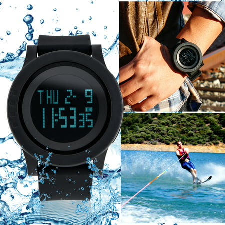 Fashion Digital Electronic Waterproof LED Date Military Sport Wrist Watch Alarm Casual Quartz - Black
