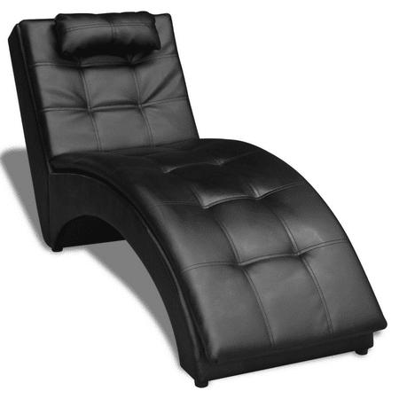Vidaxl Chaise Longue With Pillow Artificial Leather Black Walmart Com