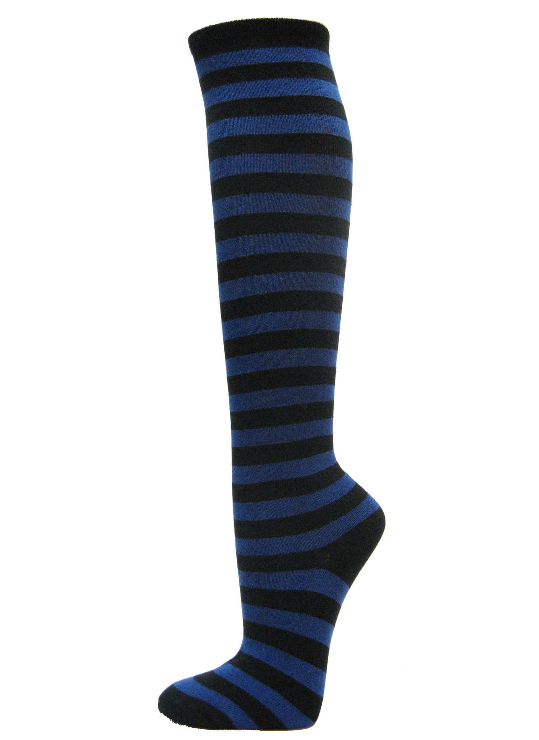 Couver Halloween costume 2 Colored Striped Women's Fashion Colorful Knee High Tube Socks - Black / Bright Green