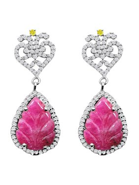 41e6f3339 Product Image 12.70 Carat Weight Genuine Ruby, Diamond and White Topaz  Earring in 925 Sterling Silver. Orchid Jewelry