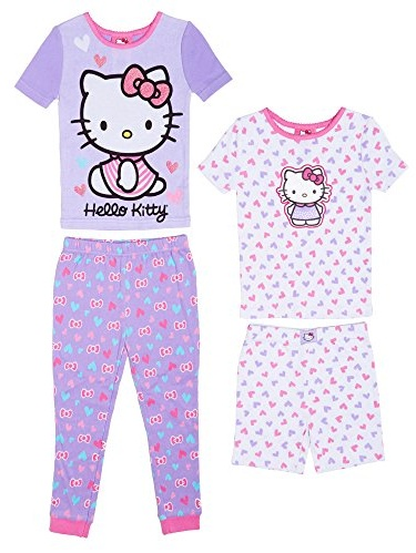 Komar Kids Girls 4 Piece Cotton Pajamas Sleepwear Set with Shorts and Pants (3T, Batgirl Wonder Woman Purple Turquoise)