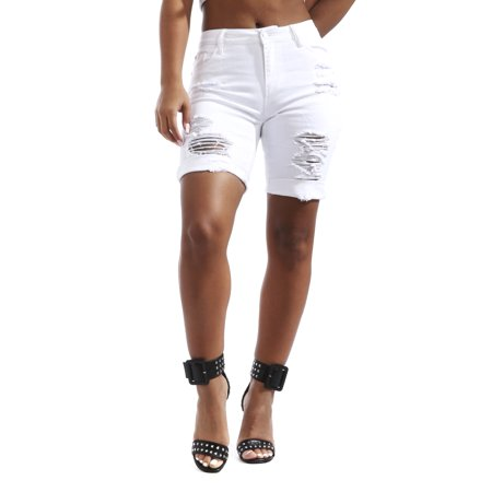 Soho BABE Junior's Heavy Rip Off Stretch Twill Bermuda Shorts