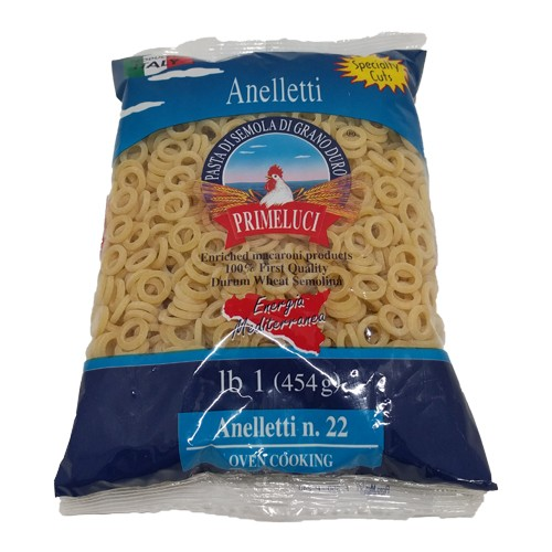 Primeluci Anelletti Durum Wheat Semolina Pasta - 1 lb