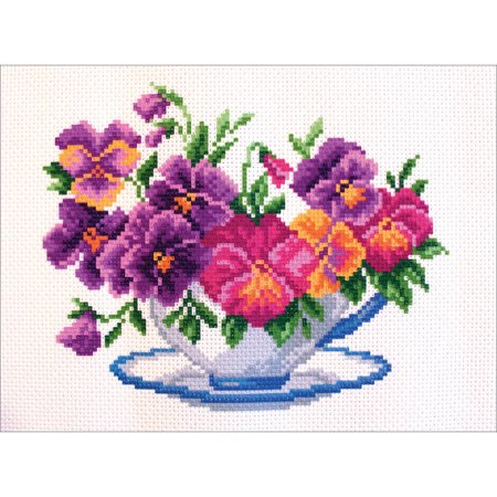 Collection D'Art Stamped Cross Stitch Kit, 23cm x 28cm, Viola In Bowl - Just Cross Stitch Halloween Collection 2017