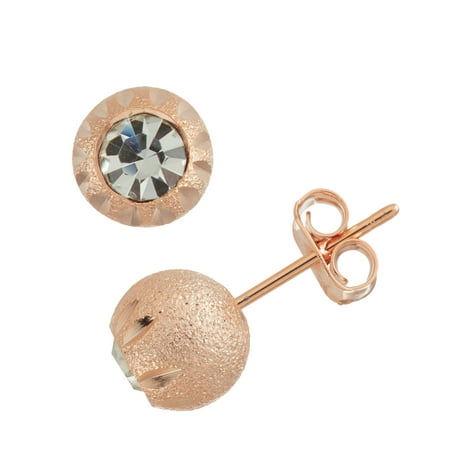 X & O Rose Gold Plated Sand Blasted 8mm Hand Cutting Dash Pattern DC White Crystal Ball Stud Earrings