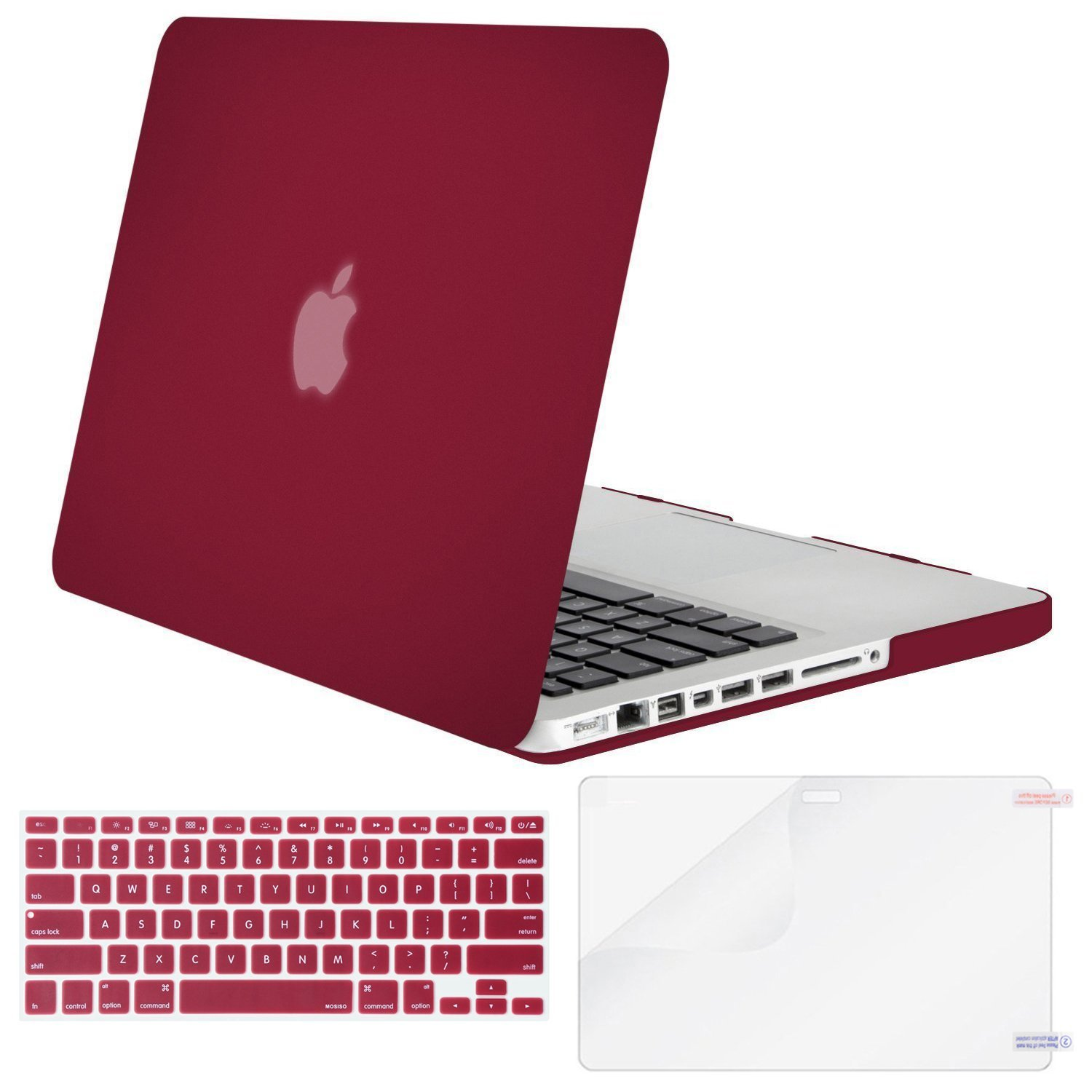 Mosiso 3 in 1 MacBook Pro 13 CD ROM A1278 Plastic Hard Case with Keyboard Cover Only for Old MacBook Pro 13'' (Model A1278),Wine Red